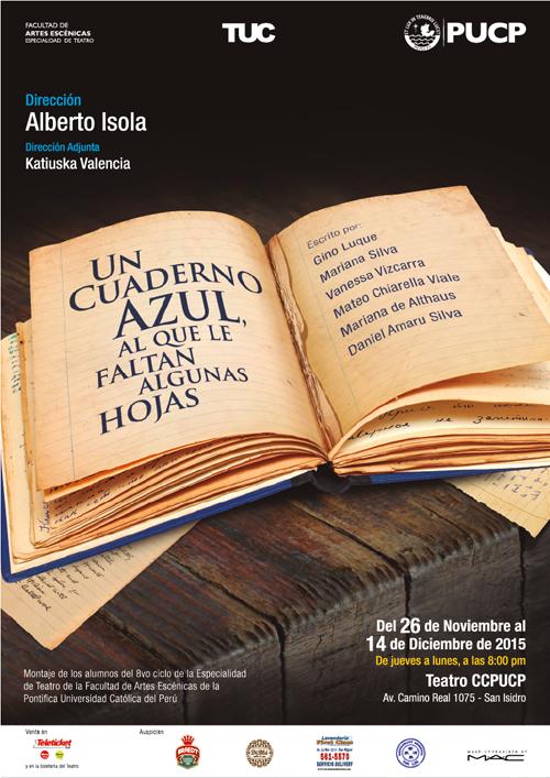 """Afiche oficial de """"Un cuaderno azul (al que le faltan algunas hojas)"""". (Foto: Difusión)"""